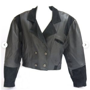 Vintage 1980s Double Breast Leather Biker Jacket